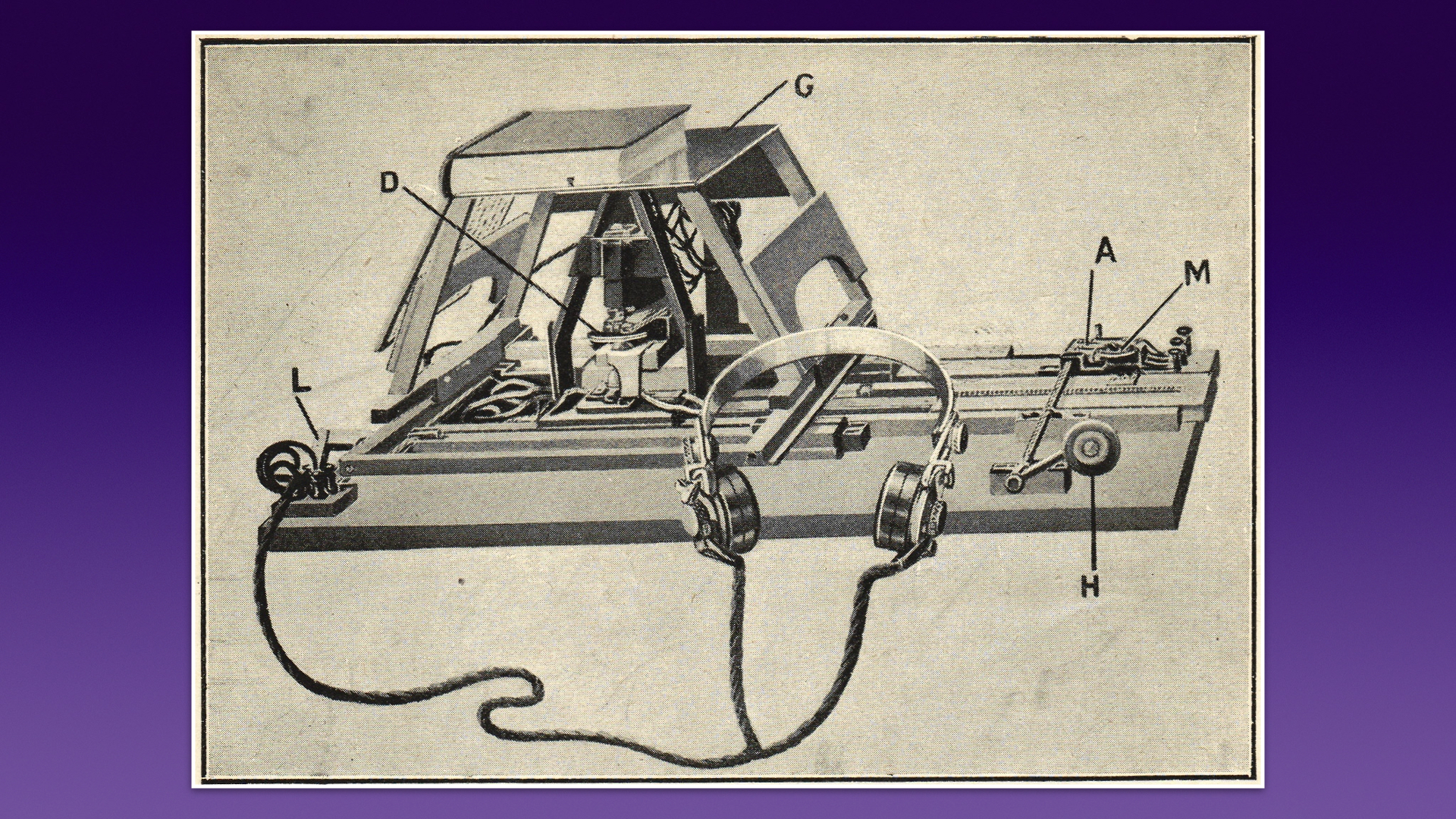 A sepia drawing of a machine with a scanning frame and a pair of headphones on a cord.