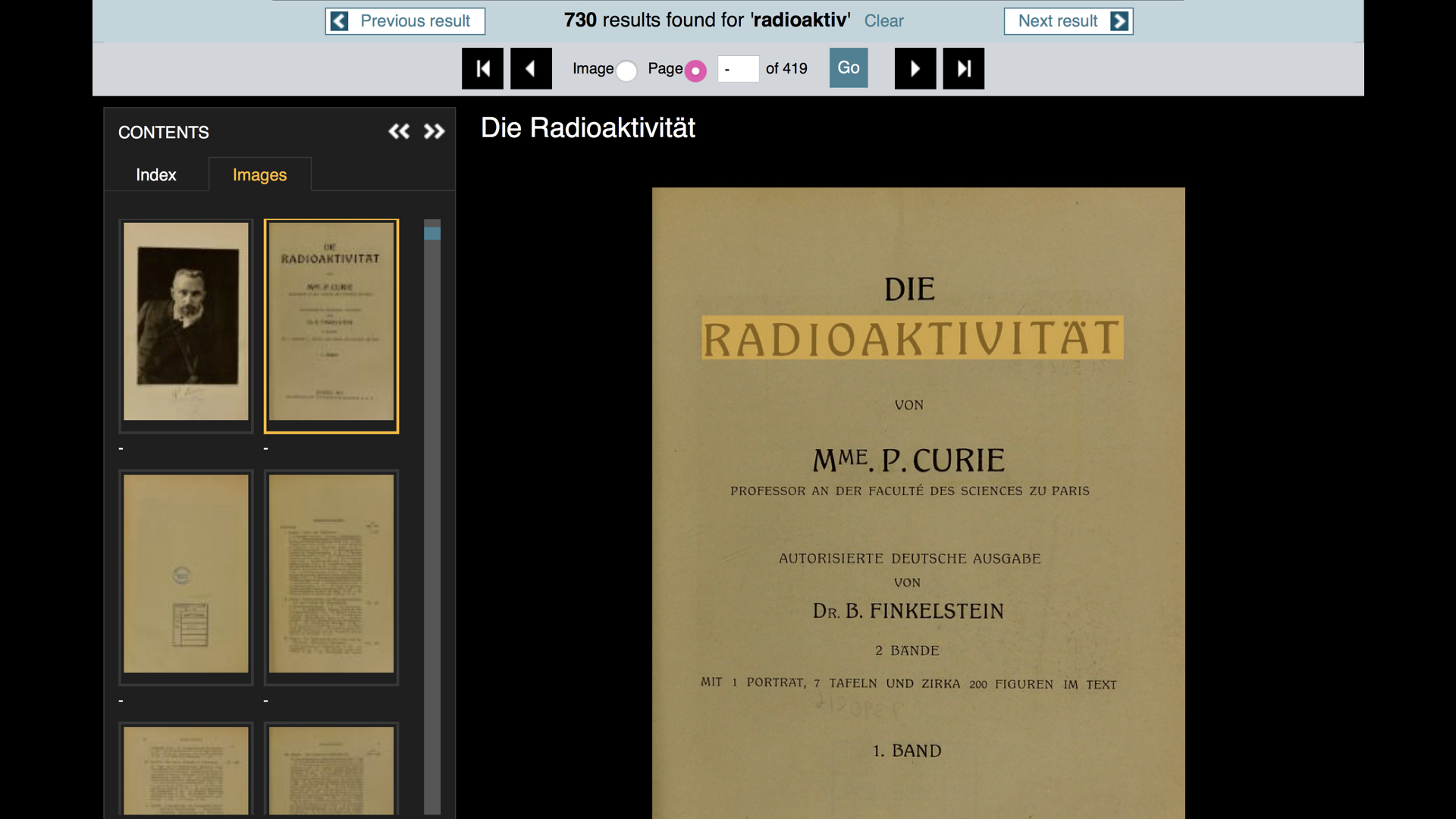 "A screenshot of an ebook viewer, with a page titled ""Die Radioaktivität""."