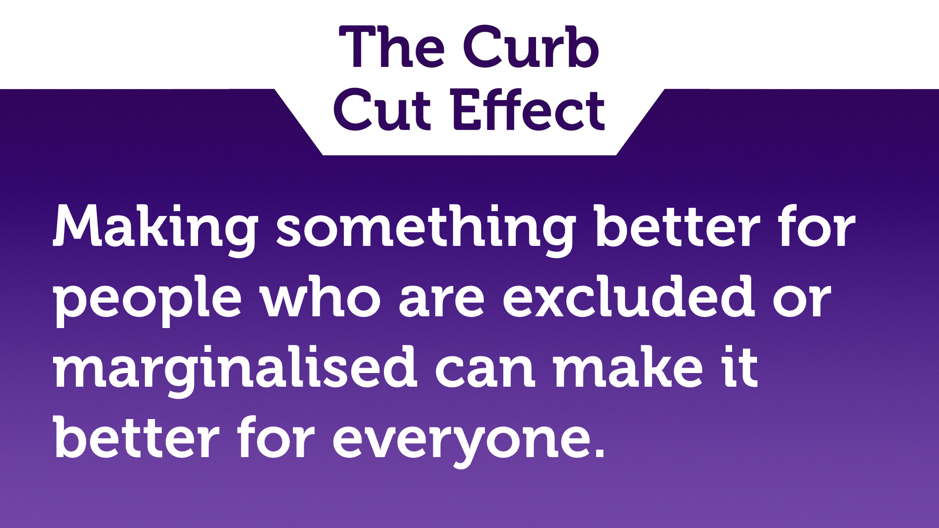 "Text slide, white text on purple. ""Making something better for people who are excluded or marginalised makes it better for everyone."""