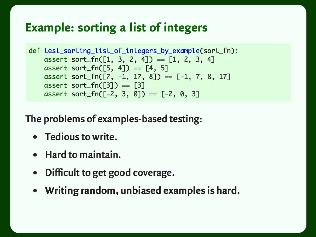 Some Python code showing how we might write a test for a function that sorts a list of integers.