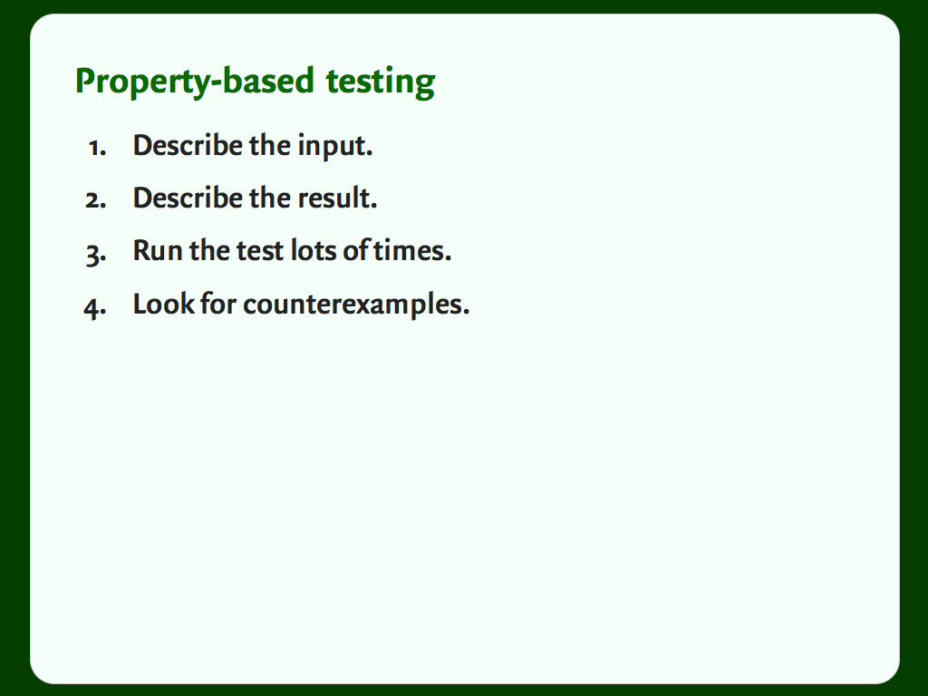 A description of the steps of property-based testing