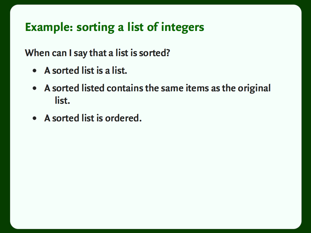 "A slide with a bulleted list, titled ""When can we say a list is sorted?"""