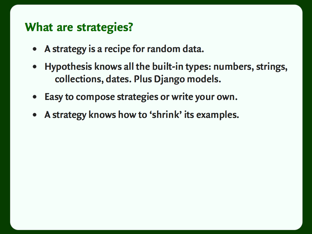 "A slide with a bulleted list: ""What are strategies?"""