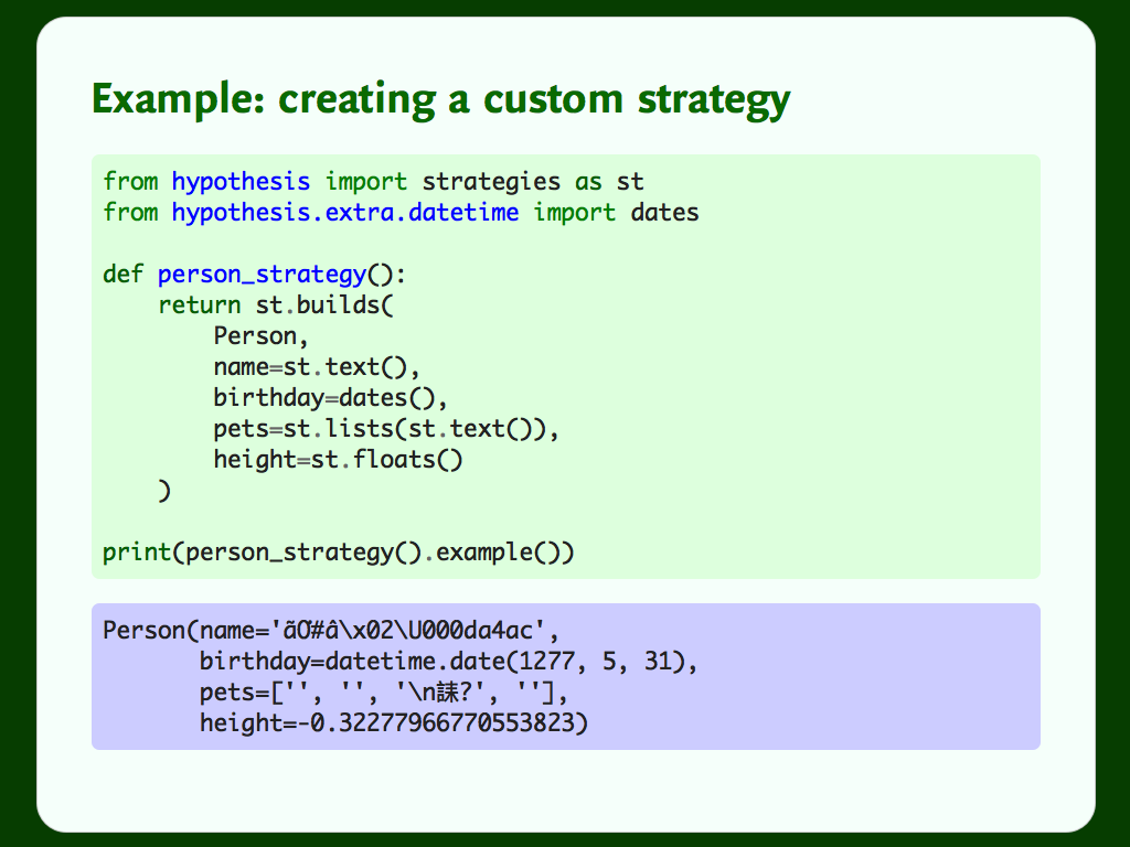 Python code showing a custom Hypothesis strategy for creating instances of a `Person` class.