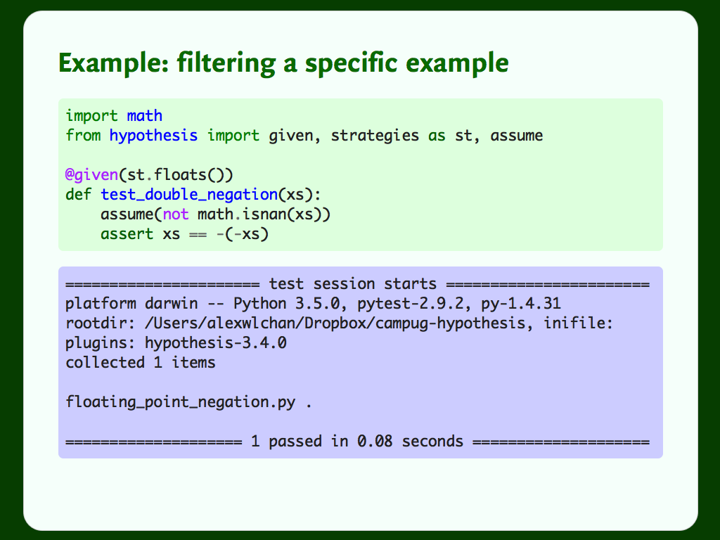 Code and output for a Hypothesis test that uses `assume()` to filter out a specific example.