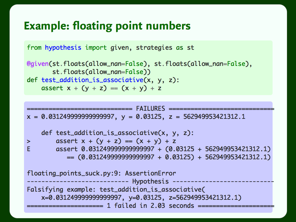 Code for a Hypothesis test that asserts float addition is associative, and output showing a counterexample and a failed test.