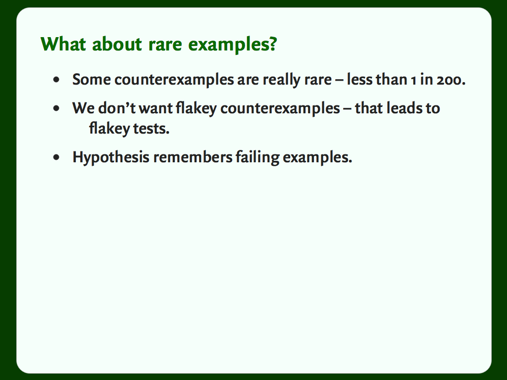 "A slide with a bulleted list: ""What about rare examples?"""