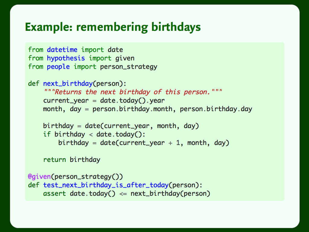 Some example code for a function and test to get somebody's next birthday.