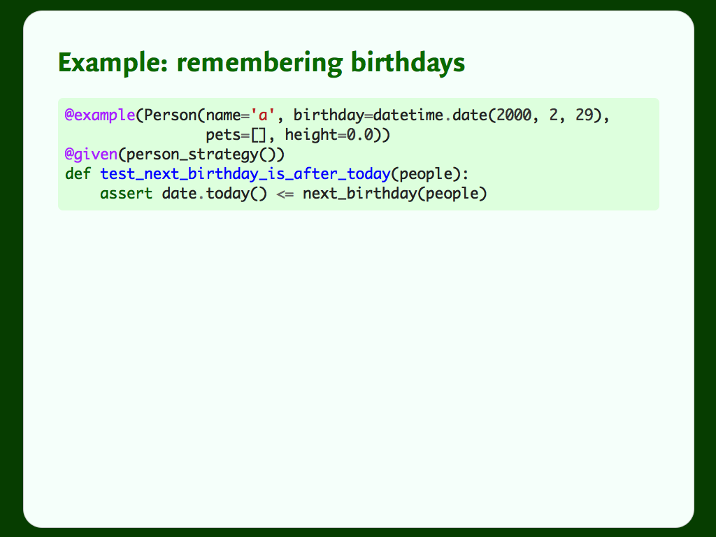A Hypothesis test that uses the `@example` decorator to remember an example.