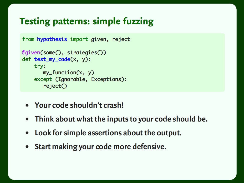 "Code and a bulleted list: ""Testing patterns: simple fuzzing""."