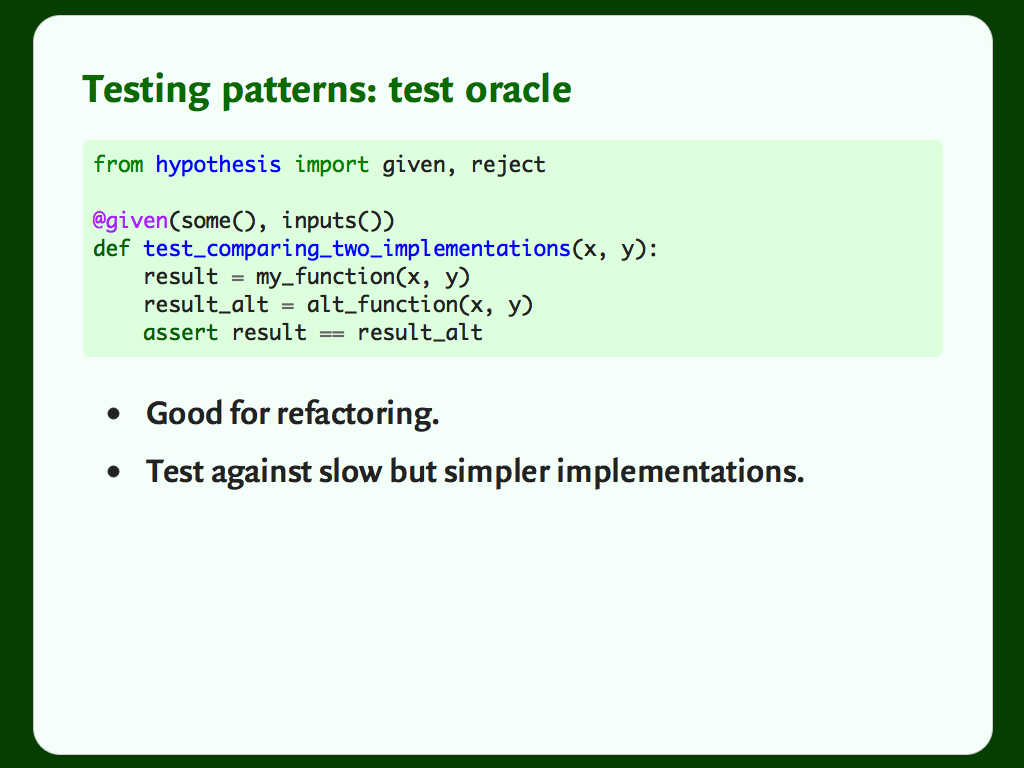 "Code and a bulleted list: ""Testing patterns: test oracle""."