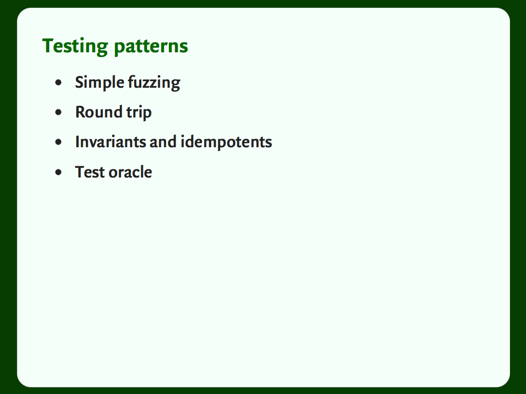 Slide with a bulleted list: a list of testing patterns.