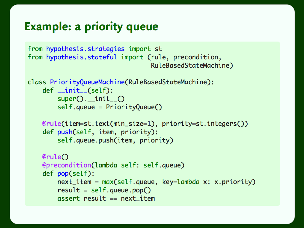 Code showing a Hypothesis test for a priority queue.