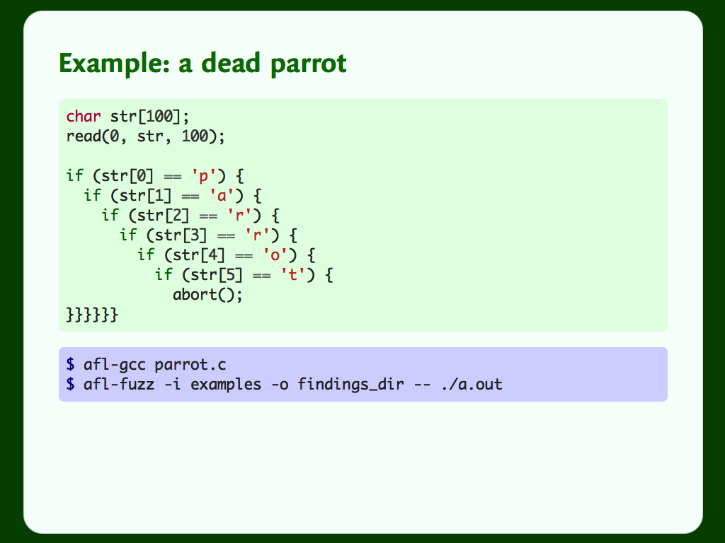 "Code for a C program that aborts if you type the string ""parrot""."
