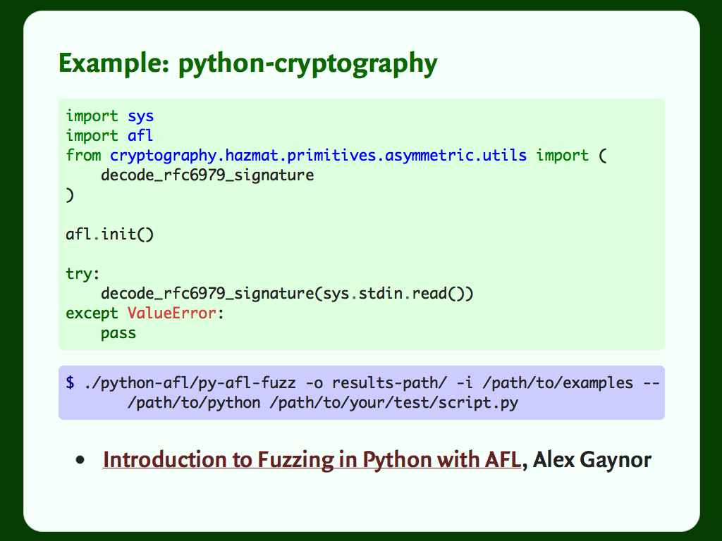 Python code for fuzzing the python-cryptography library with AFL.