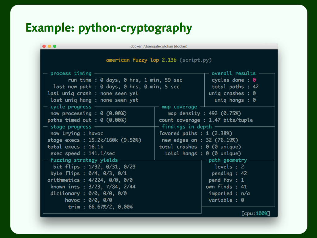 Terminal output showing an AFL fuzzing session against python-cryptography.