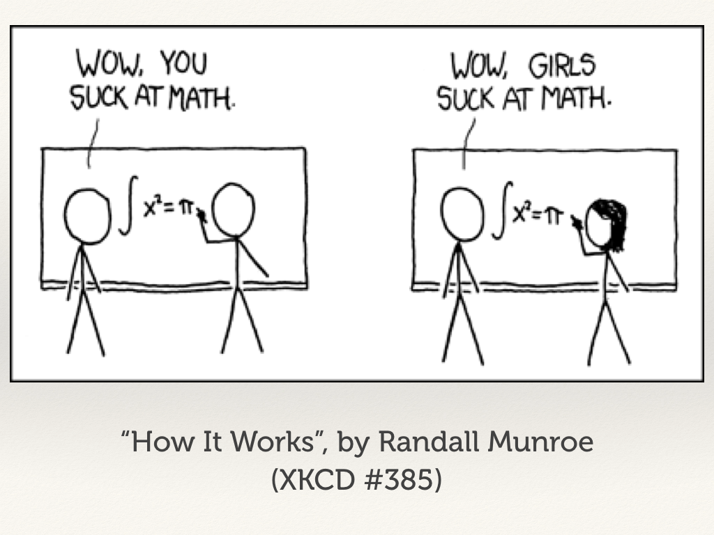 "The XKCD comic ""How It Works"". A man makes a mistake: ""Wow, you suck at math"". A woman makes the same mistake: ""Wow, girls suck at math""."