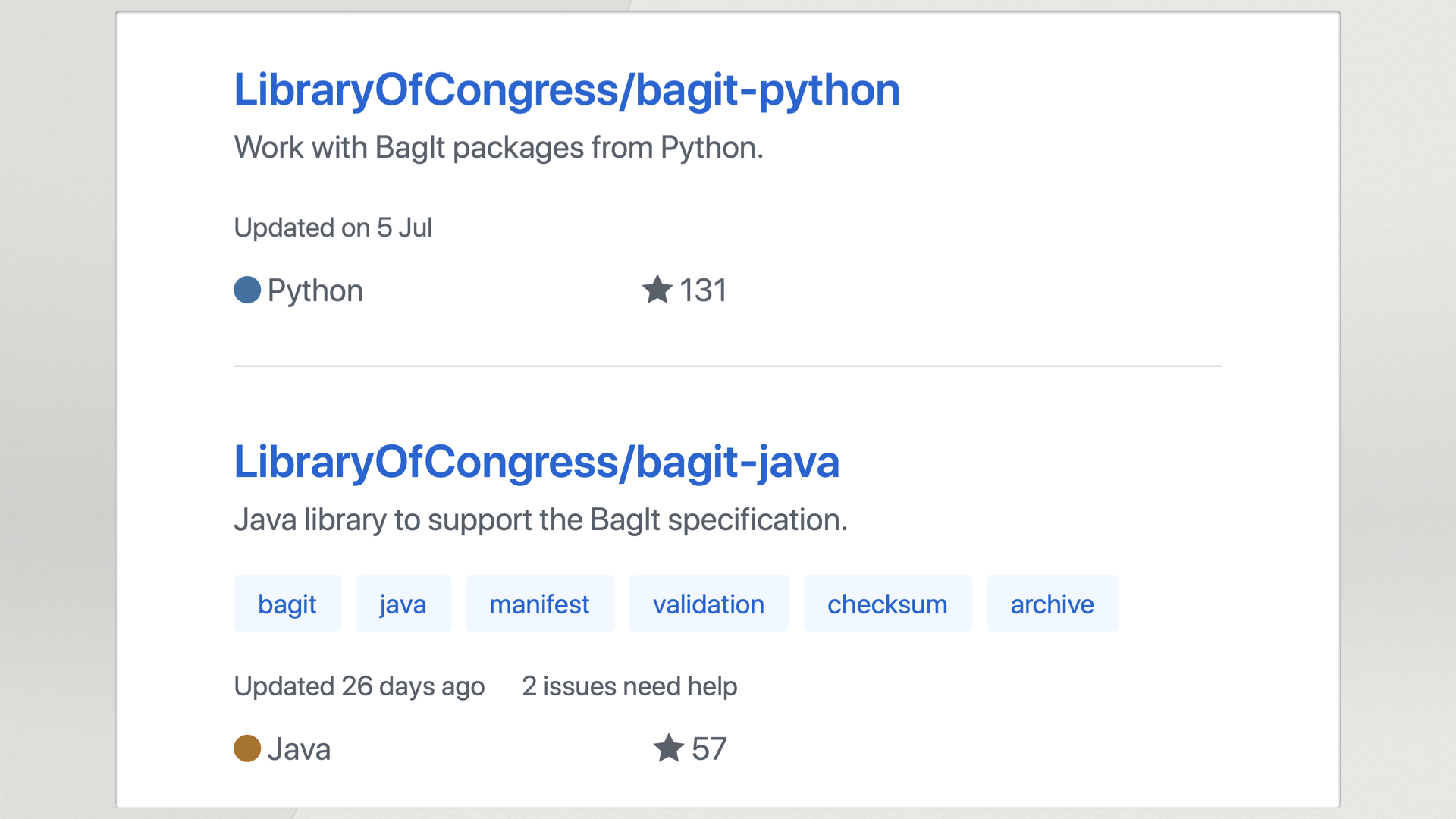GitHub search result for two libraries: LibraryOfCongress/bagit-python, and LibraryOfCongress/bagit-java.