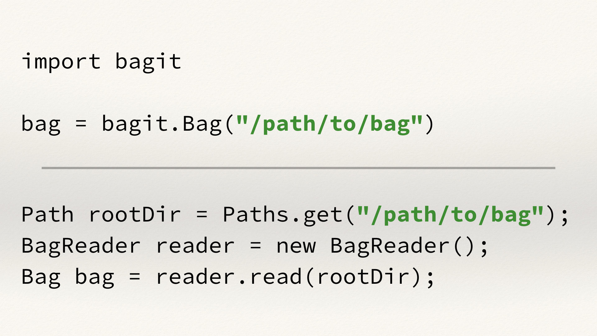 Examples of code from the BagIt libraries in Python and Java. In both cases, the code is using a parameter '/path/to/bag', which is highlighted in green.