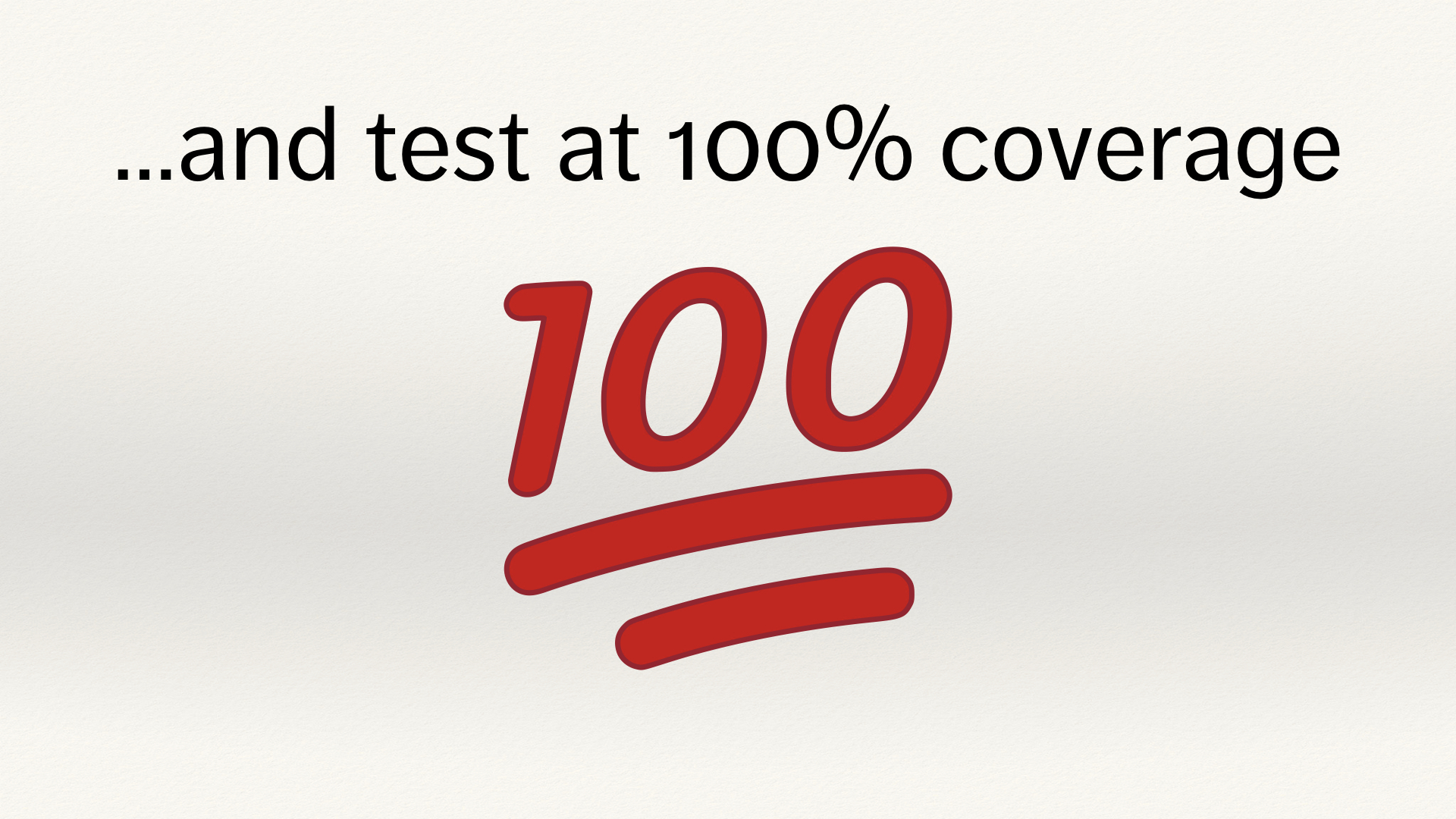 "A red 100 emoji, below the text ""and test at 100% coverage""."