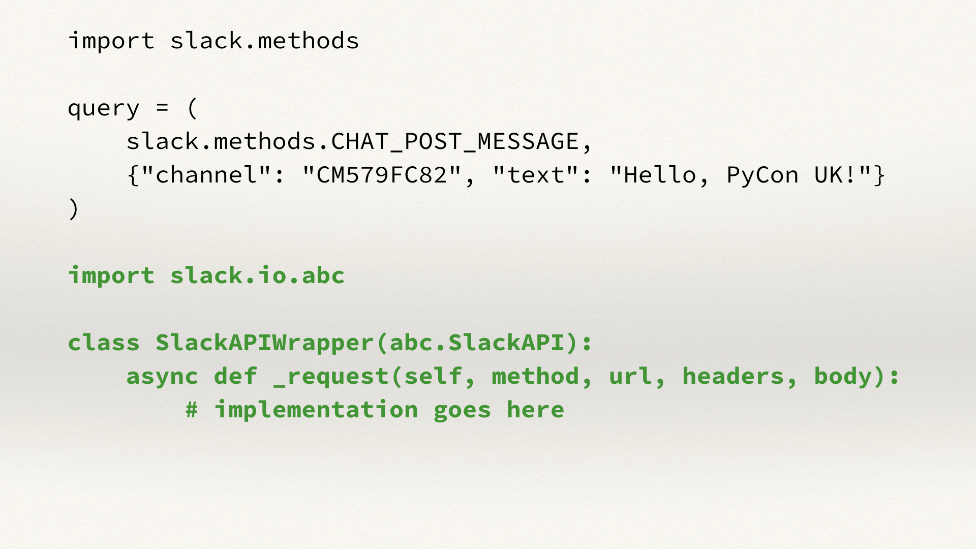 Example code for using slack-sansio with requests.